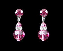 Azalea Pink Crystal Earrings with Silver (Medium)