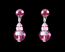 Azalea Pink Crystal Earrings with Silver (Medium)