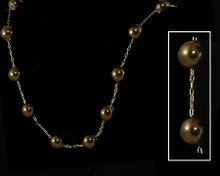 Olive Brown Pearl Necklace on Gold
