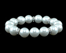 White Pearl Stretch Bracelet with Rhinestones on Silver