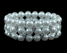 White Pearl Bracelet with Silver and Rhinestones