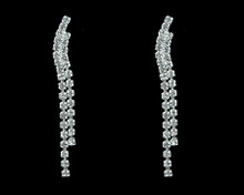Slight Curve Double Strand Rhinestone Dangling Earring