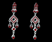 Diamond and Tear Drop Shaped Red Crystal Dangle Earrings Silver