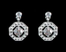 Clear Crystal Octagon Earrings on Silver