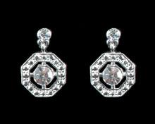 Clear Crystal Octagon Earrings on Silver
