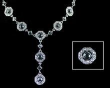 Black Crystal Octagons on Antique Silver Y - Necklace