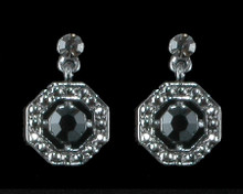 Black Crystal Octagon Earrings on Antique Silver