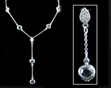 Clear Crystal and Silver Chanel Y Necklace