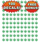 Bulk Wholesale Lot 100 Pot Leaf Decals, Stickers Free Shipping and Free Bonus Decals