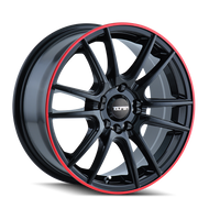 TOUREN TR77 16x7 Black Red Wheels Rims 5x105 5x112 40 | 3277-6719B