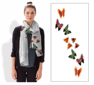 Modal scarves featuring photos of gemstone butterflies with 18K and diamonds
