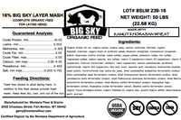 Big Sky Organic Layer Mash - Chicken feed - no corn no soy