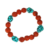 Turquoise and Rudraksha Beads Wrist Mala