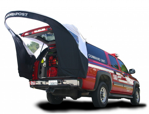 Overhead coverage extends almost three feet beyond the opened liftgate to provide additional overhead protection.