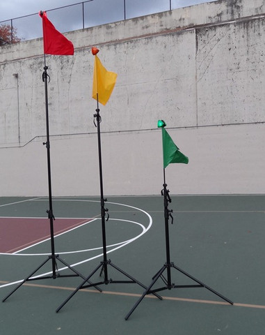 "3 Tripods with red, yellow and green Flag/Lights Adjustable from 6' 5"", 9 feet, 12 feet to over 15 feet."