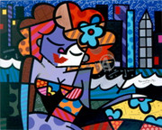 Britto Rare Sexy Downtown Girl Hand Signed Canvas Wcoa