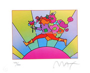 Cool Peter Max Jumper Over Sun Hand Signed Litho Wcoa