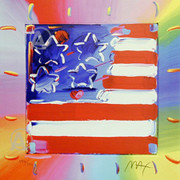 Great Hand Signed Peter Max Vibrant America Flag Coa