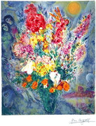 Marc Chagall Bouquet Signed S/n Lithograph Ltd Ed W/coa
