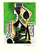 Pablo Picasso Cubist Lady In Green Signed L/e W/coa