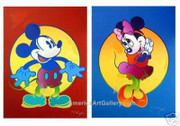Peter Max Hand Signed Stunning Disney Mickey & Minnie Mouse Coll