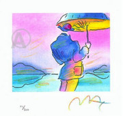 Peter Max Hand Signed Umbrella Man Lithograph W/coa Nr!