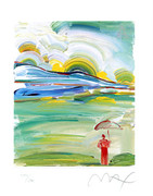 Peter Max Lush Umbrella Man Hand Signed Litho W/coa Nr