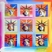 Peter Max Stunning Rare Nine Statue Of Liberty Portraits Hand Si