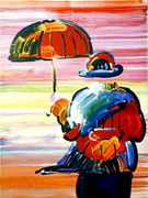Peter Max Umbrella Man Lithograph