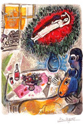 Rare Marc Chagall Reverie Signed S/n Lithograph Ltd Ed