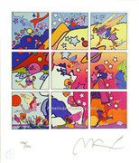 Rare! Peter Max Self Portrait Profile Hand Signed W/coa