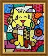 Romero Britto Fabulous Signed Coa Serigraph Best Friend