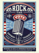 Barack Obama Rock The Vote! Signed By Shepard Fairey 2008 Poster