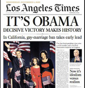 Barack Obama Wins! Cover Election Issue Los Angeles Times Newspa