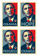 Rare Barack Obama Campaign Collectible 4 Set of Prints