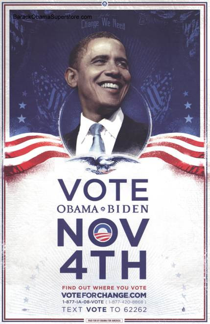 Rare Barack Obama Vote Change Campaign Poster - America ... Obama Campaign Poster Official
