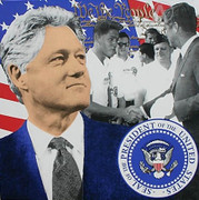 Splendid Steve Kaufman President Clinton STATE II Large Hand Signed Limited Edition Screenprint On Canvas