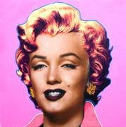 "Extraordinary Steve Kaufman Marilyn Monroe Pop ""Pink"""