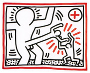 Dynamic Haring Edition Prints, Three Lithographs #1, 1985