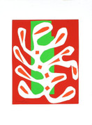 Matisse White Alga on red and Green Ground