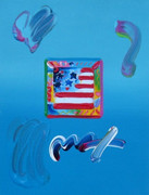 Beautiful Flag, Mixed Media (Acrylic & Lithograph), Peter Max - SIGNED with COA