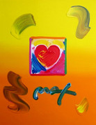 Stunning Heart, Mixed Media (Acrylic & Lithograph), Peter Max - SIGNED with COA