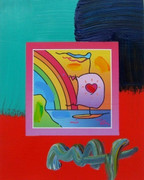 Peter Max SIGNED w/COA Bright Sailboat & Heart Mixed Media Acrylic & Lithograph