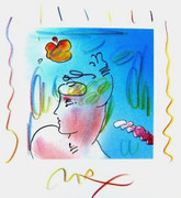 Dynamic Ladies Hat, Original Lithograph & Colored Pencil, Peter Max