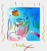 Dynamic Ladies Hat, Original Lithograph & Colored Pencil, Peter Max