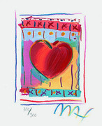 "Peter Max Hand Signed Heart Series II, Ltd Ed Lithograph (Mini 5"" x 4"") with COA"