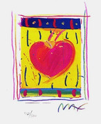 "Fab! Peter Max Hand Signed w/COA Heart Series VI, Ltd Ed Lithograph 5"" x 4"""