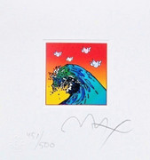 "Peter Max Hand Signed w/COA  Great Waves & Doves Ltd Ed Litho 4.875"" x 4.5"