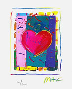 "Cool Peter Max SIGNED with COA Heart Series IV Ltd Ed Lithograph 5"" x 4"""