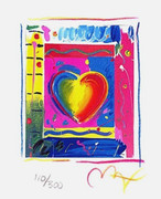 "Fab! Peter Max Hand Signed w/COA Heart Series III Ltd Ed Lithograph 5"" x  4"""